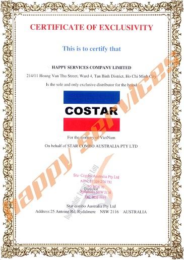 Giấy chứng nhận Công ty TNHH Dịch Vụ Hạnh Phúc Độc Quyền Phân Phối sản phẩm Costar Tại Việt Nam